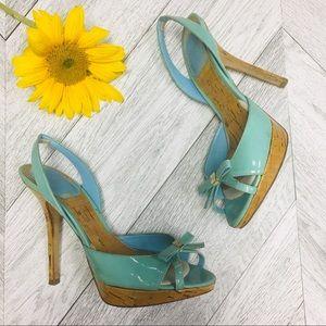 Christian Dior | Starlet Slingback Cork Aqua Heels